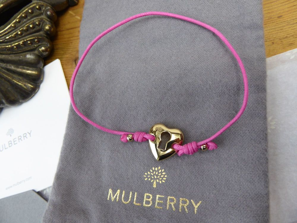 Mulberry 'Key to my Heart' Gold Heart Friendship Bracelet in Mulberry Pink