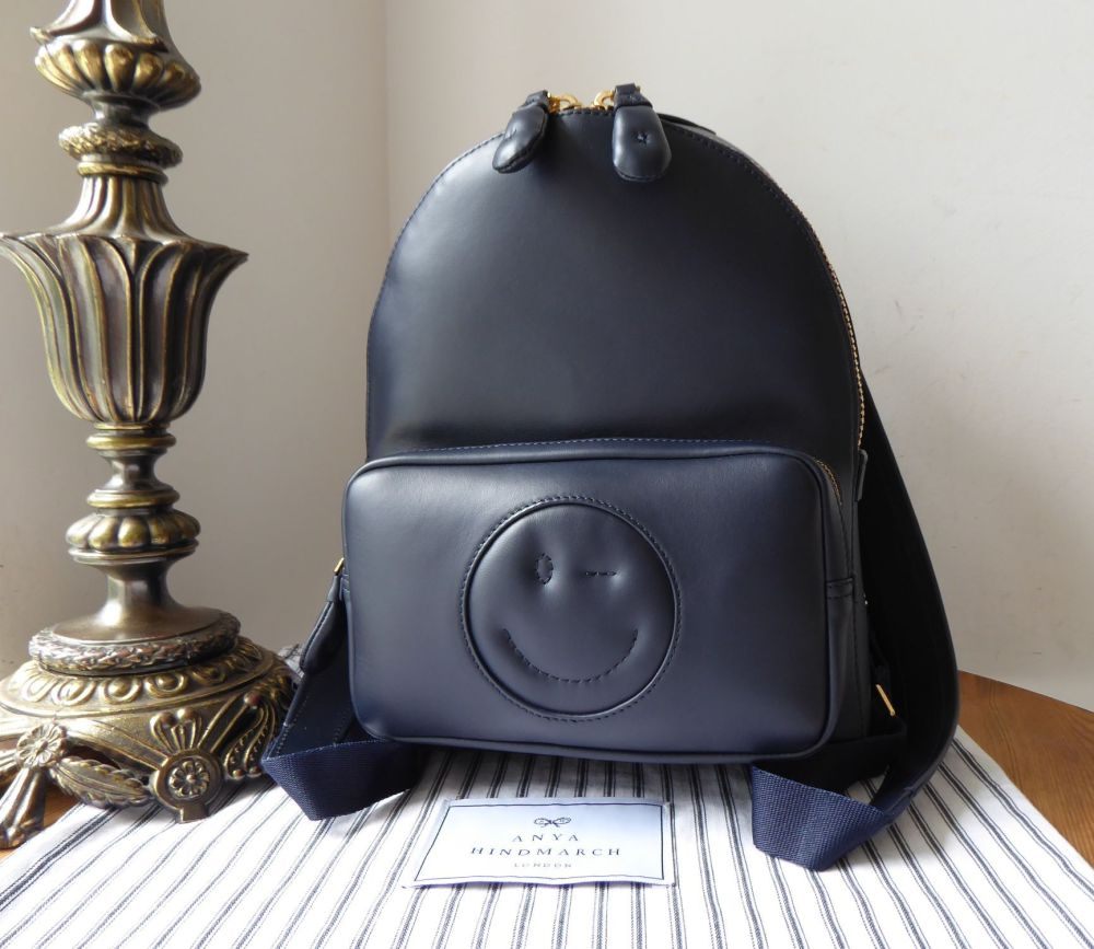Anya Hindmarch Chubby Smiley Wink Backpack in Marine Blue Circus Leather