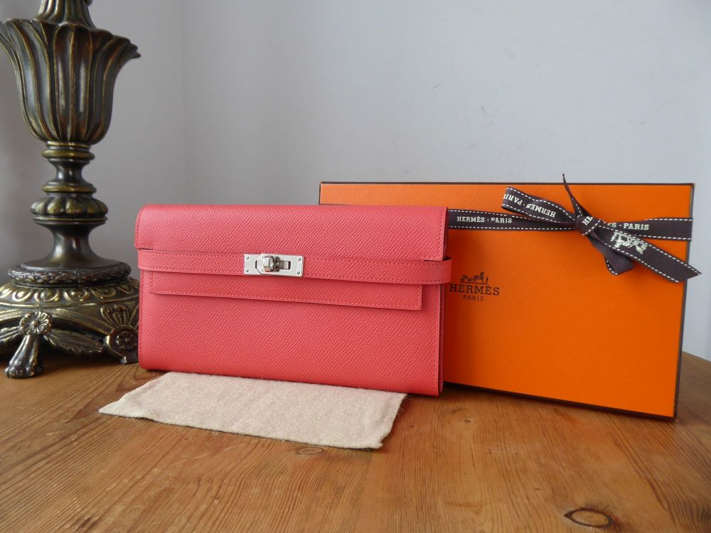 Hermés Kelly Classic Wallet in Rose Jaipur Epsom with Palladium Silver Hard