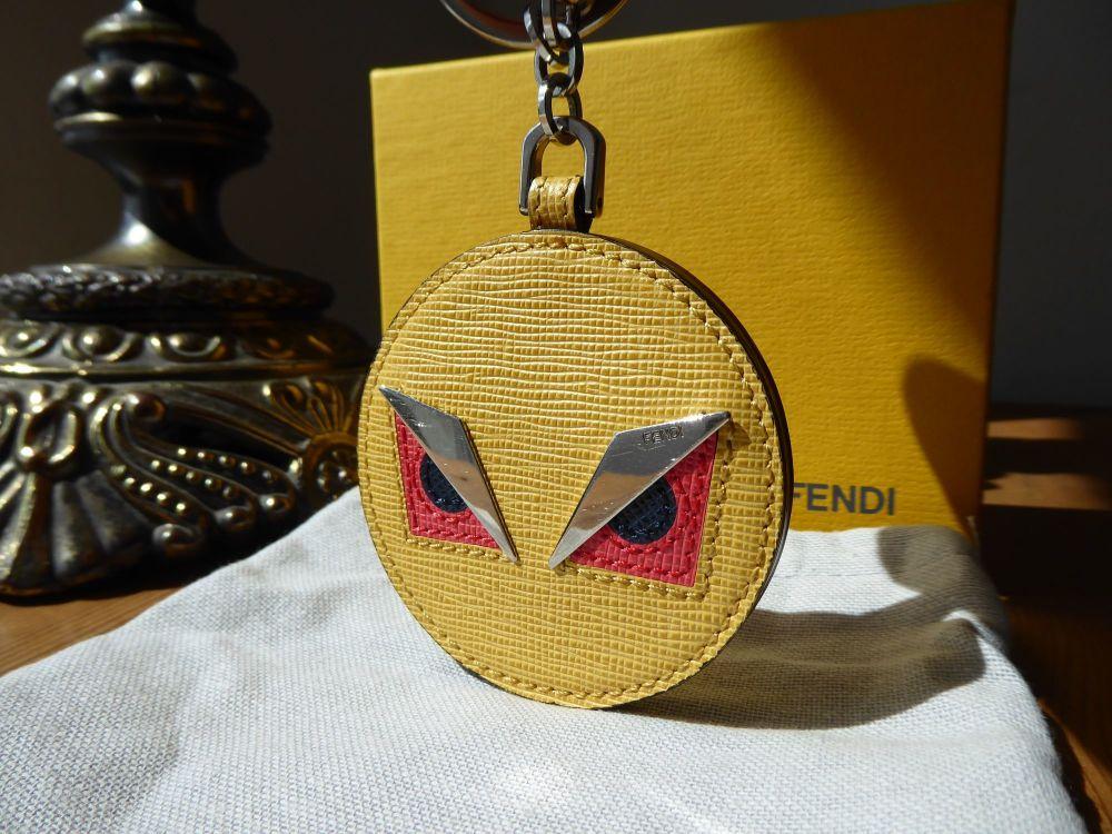 Fendi Monster Eyes Bag Charm Keychain in Vitello Alchemy