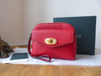 Mulberry Darley Postmans Lock Wristlet Coin Pouch in Scarlet Small Classic Grain - New