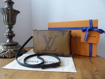 Louis Vuitton Double Zip Pochette in Giant Reverse Monogram Canvas Noir