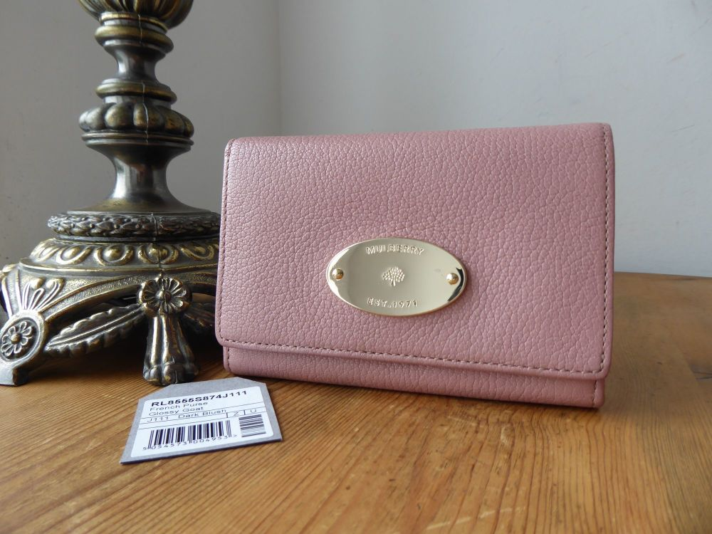 Mulberry Plaque French Purse Wallet In Dark Blush Glossy Goat