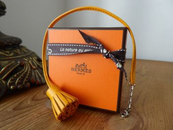 Hermés Carmencita Bag Charm Page Marker Very Large Model in Jaune d'Or Milo Lambskin - As New