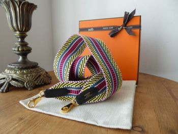 Hermés Large Cavale Strapin Multi Colour and Noir Swift with Gold Hardware