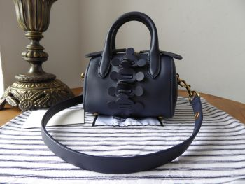 Anya Hindmarch Vere Mini Barrel Apex in Indigo Blue Satin Calf - New*