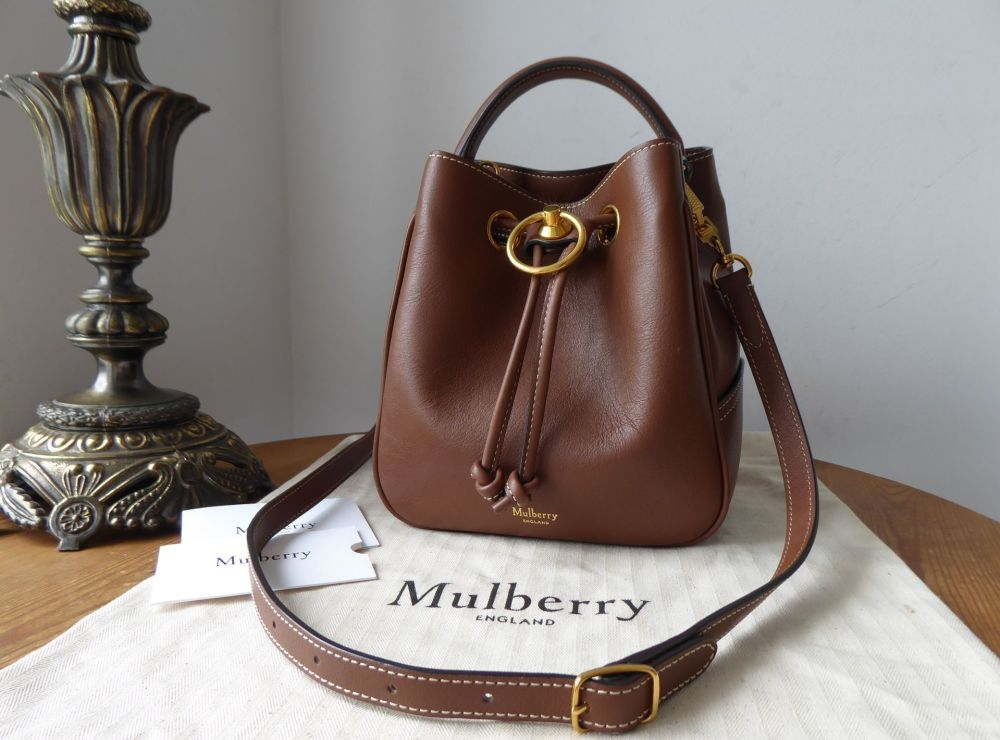 Mulberry Small Hampstead Bucket Bag in Tan Silky Calf Leather