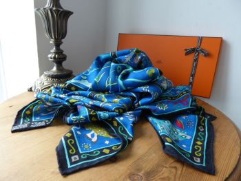 Hermés Cashmere Silk Chale Shawl Scarf 'Peuple du Vent' in Caban, Cobalt & Turquoise