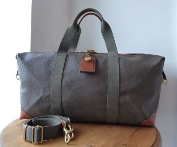 Mulberry Medium Clipper Scotchgrain Holdall Duffle Travel Bag in Mole & Cognac