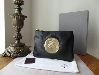 Mulberry Daria Medium Zip Pouch Clutch in Black Soft Spongy Leather