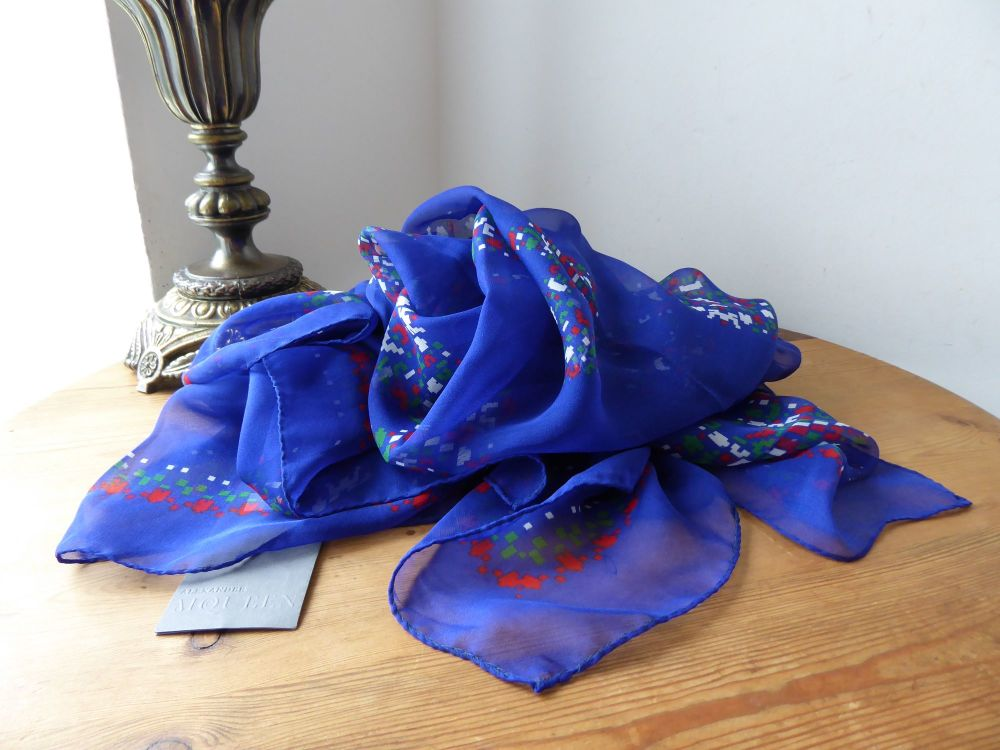 Alexander McQueen Video Game Skull Square Scarf Wrap in Electric Blue 100%