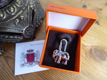 Hermès Elephant Cadena Lock Charm in Palladium Silver