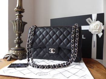 Chanel Timeless Classic 2.55 Double Jumbo Flap in Black Caviar with Silver Hardware