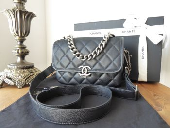 Chanel Daily Carry Small Messenger in Black Quilted Iridescent Velvet Calfskin and Caviar Leather