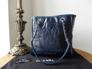 Chanel Deauville Small Tote in Dark Navy Shiny Calfskin with Silver Hardware
