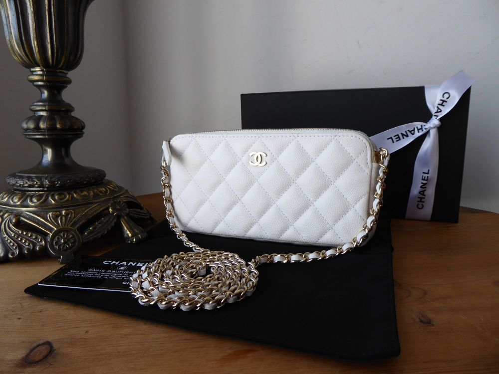 Chanel Twin Zipped Pochette Clutch on Chain in White Caviar Leather with Sh