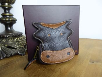 Mulberry Cow Coin Purse in Chocolate & Oak Darwin Leather