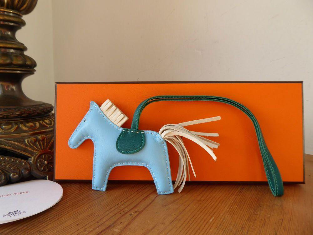 Hermés Rodeo PM Horse Bag Charm in Blue Celeste, Malachite & Craie - New