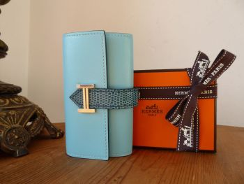 Hermès Béarn Mini Key Holder Case in Blue Atoll Tadelakt & Blue Petrol Niloticus Lizard - New
