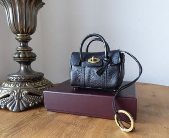 Mulberry Mini Shrunken Bayswater Bag Charm Key Pouch in Black Natural Leather