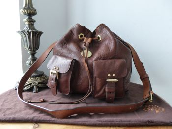 Mulberry Leah Drawstring Shoulder Bag Messenger in Hazelnut Lambskin Plonge