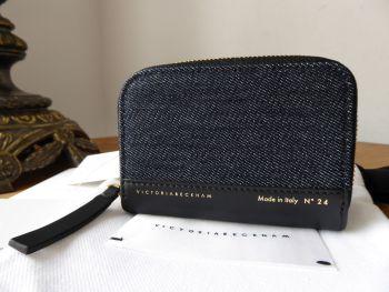 Victoria Beckham Small Zip Around Coin Card Purse in Indigo Denim & Black Calfskin - New
