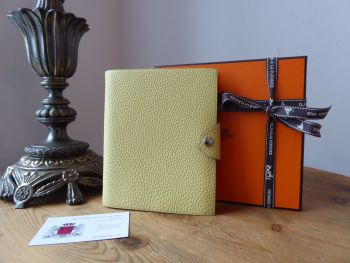 Hermés Ulysse PM Notebook Cover & Insert in Jaune Poussin Clemence - As New*