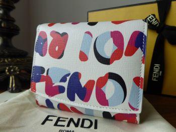 Fendi Multicolour Logo Small Wallet Purse in White Vitello Elite - New