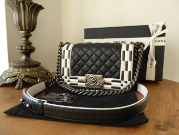 Chanel Checkerboard Small Boy Bag in Black & White Calfskin with Ruthenium Hardware