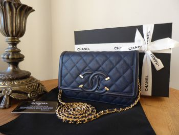 Chanel CC Filigree WOC Wallet on Chain in Navy Caviar with Brushed Antique Gold Hardware