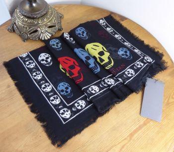 Alexander McQueen Skull Scarf in Black with Multicoloured Skulls in Silk Modal Mix - New*