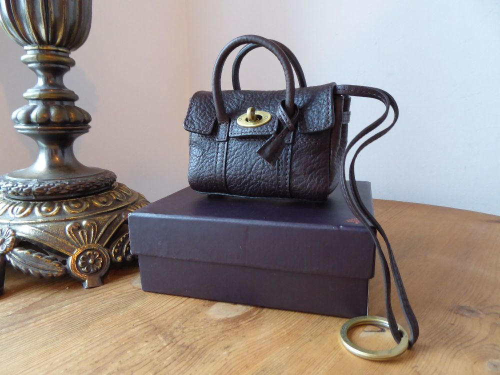 Mulberry Mini Shrunken Bayswater Bag Charm Key Pouch in Chocolate Natural L