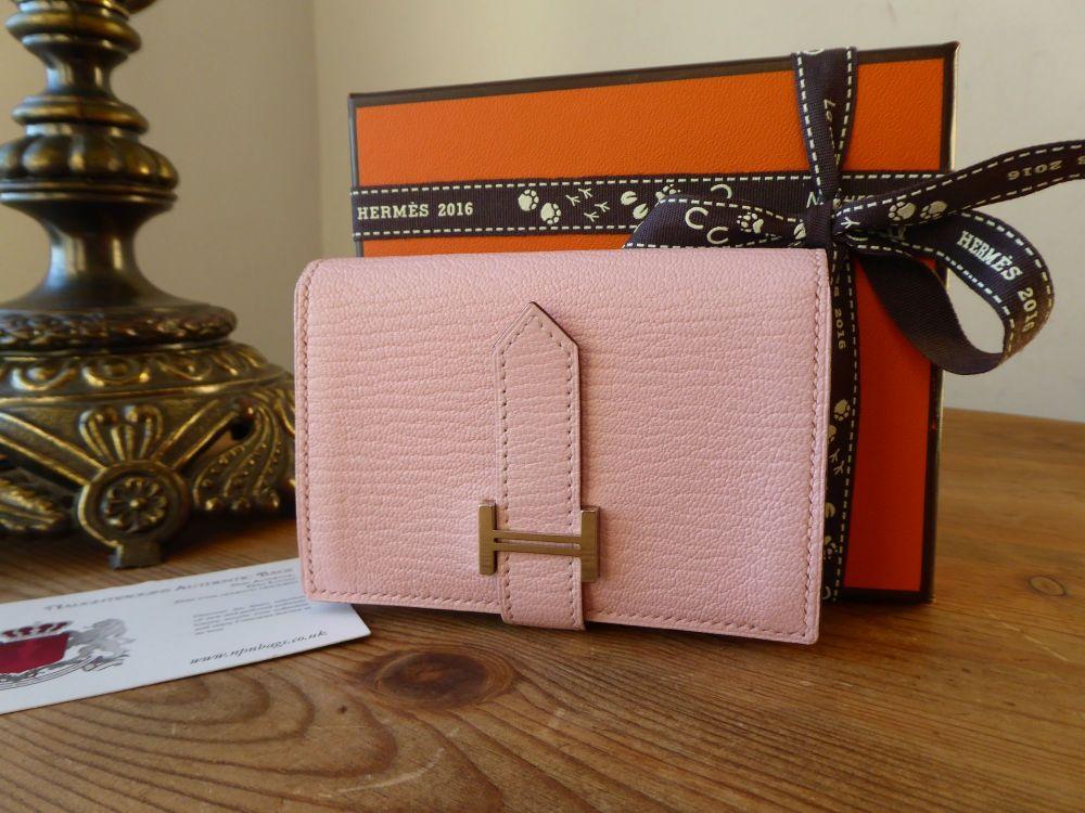 Hermes Bearn Mini Combined Compact Wallet in Rose Sakura Chèvre Mysore
