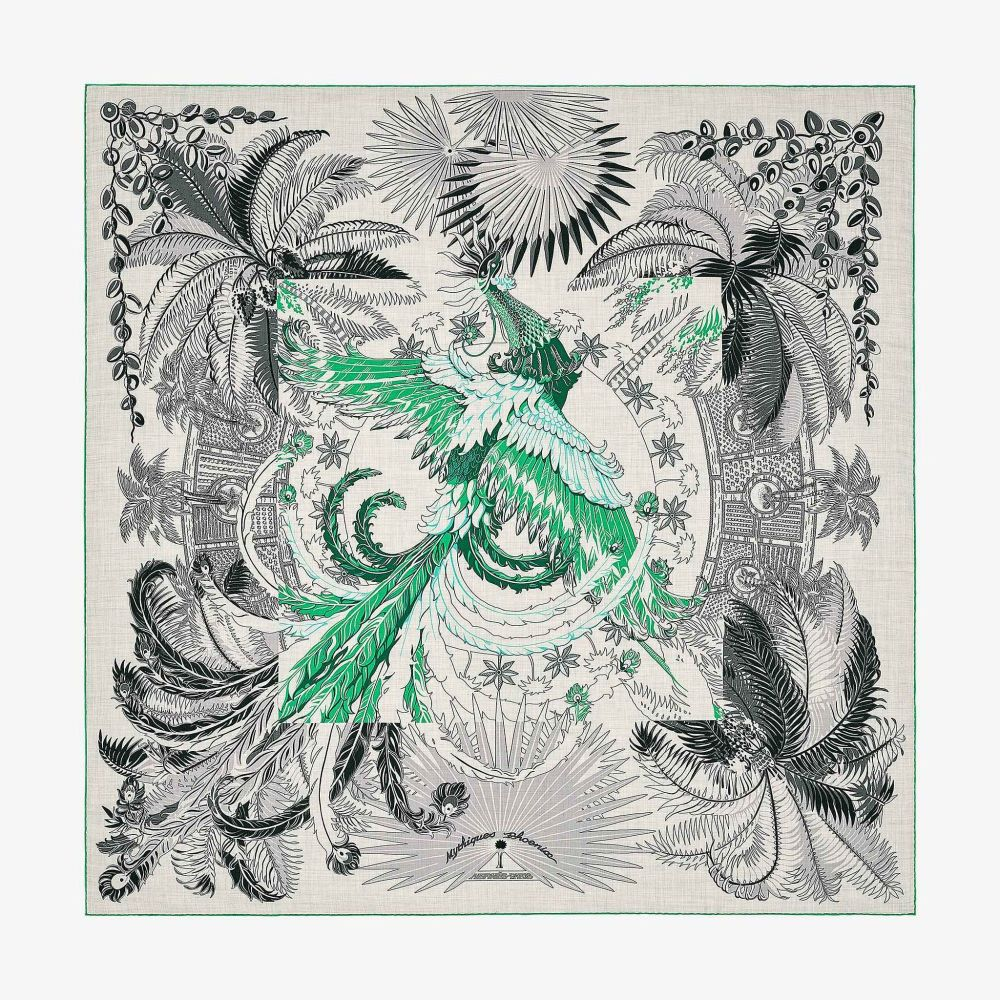 Hermes Chale Shawl Scarf Mythiques Phoenix Coloriage
