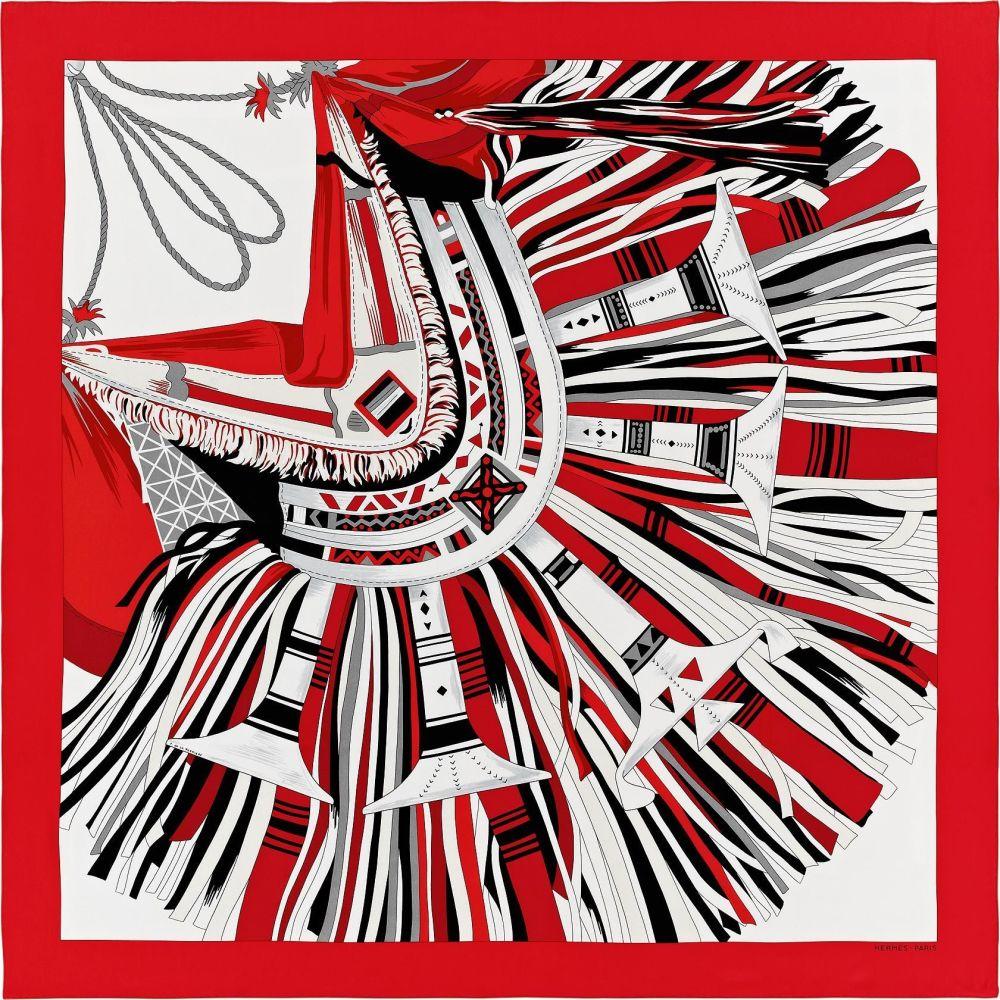 Hermes Cuir du Desert II Carre Silk Twill Shawl 140cm in Rouge Blanc Noir N