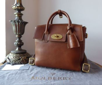 Mulberry Cara Delevingne Mini Backpack in Dark Oak Natural Leather