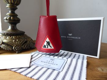 Anya Hindmarch Men at Work Cable Tidy Leather Luggage Tag Bag Charm in Red Capra Goastkin - New