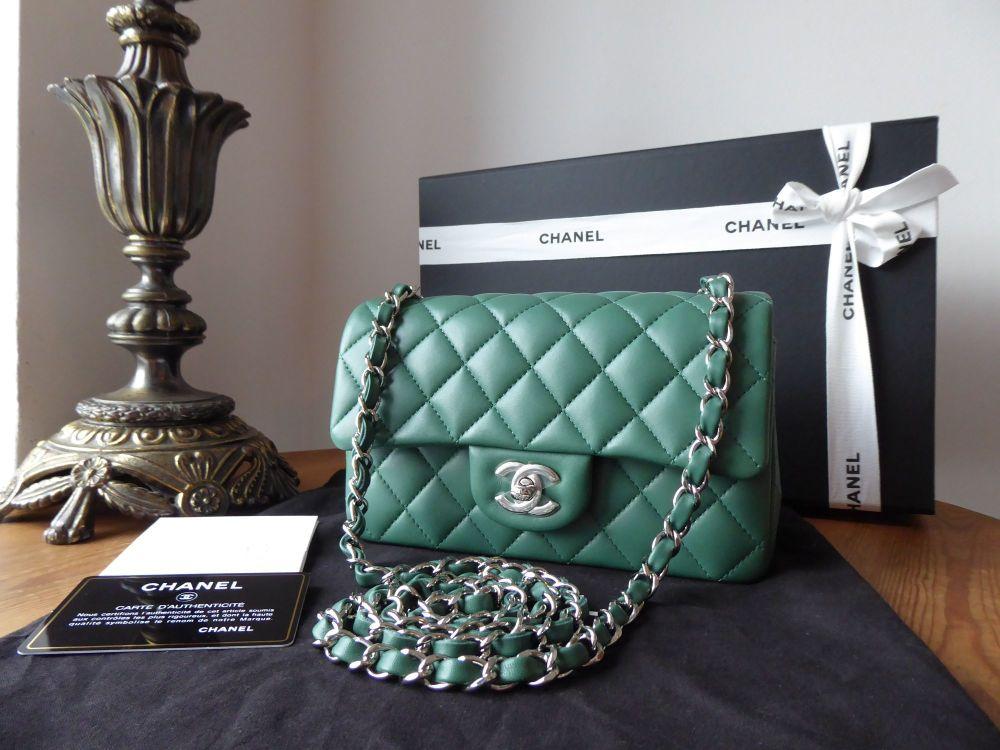 Chanel Classic Rectangular Mini Flap Bag in Moss Green Lambskin with Silver