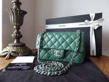 Chanel Classic Rectangular Mini Flap Bag in Moss Green Lambskin with Silver Hardware - New