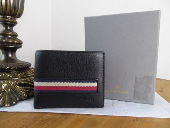 Mulberry Mens Eight Card Striped Folded Wallet in Black Calfskin