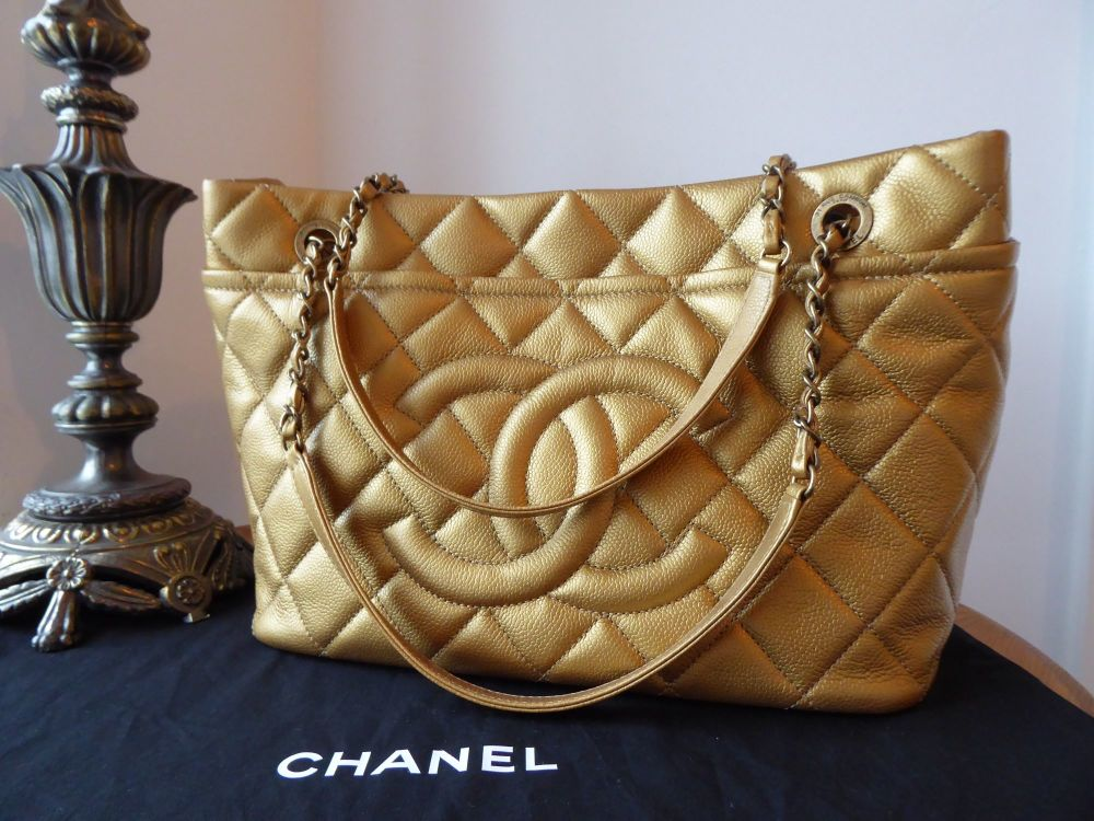 Chanel Timeless Tote in Metallic Gold Caviar Leather with Antiqued Gold Har