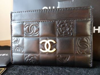 Chanel Precious Symbols Credit Card Slip Holder in Black Lambskin