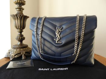 Saint Laurent YSL Medium Loulou in Navy Blue Y Quilted Leather - As New