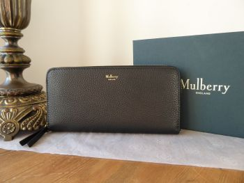 Mulberry 8 Card Zip Around Continental Wallet Purse in Black Small Classic Grain - New