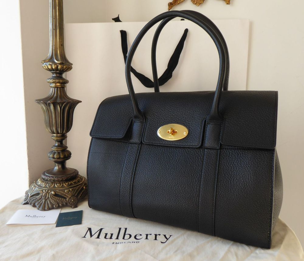 Mulberry Coca Bayswater in Black Small Classic Grain