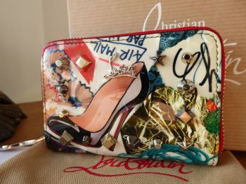 Christian Louboutin Multicolor Trash Print Patent Leather Panettone Spiked Zip Around Coin Purse - New
