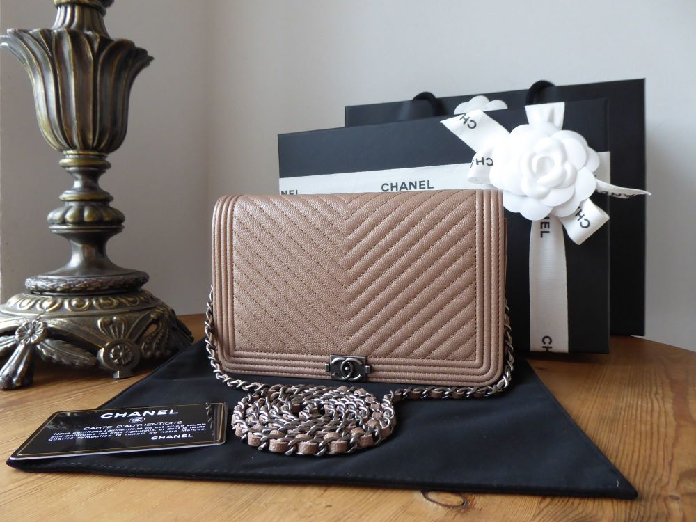 Chanel Boy Wallet on Chain WOC in Mocha Rose Chevron Quilted Caviar with Ru