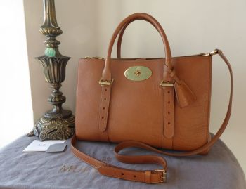 Mulberry Larger Sized Double Zip Bayswater Tote in Oak Natural Leather