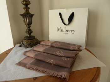 Mulberry Tree Rectangular Scarf Wrap in Reversible Taupe & Rosewater Extra Fine Merino Wool - New*