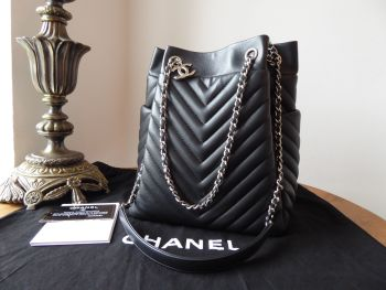 Chanel Urban Spirit Small Drawstring Bucket Bag in Black Lambskin with Silver Hardware